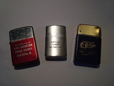 LOT OF 3 Vintage Flip Top  Advertising Lighters- ALL WORKING-NEW FLINTS-
