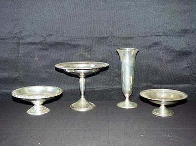 Three Sterling Silver Compotes & One Bud Vase Lot 26