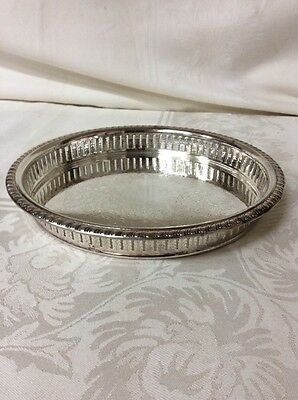 Silver Plated Round Serving Tray w/ Vintage Flower Design