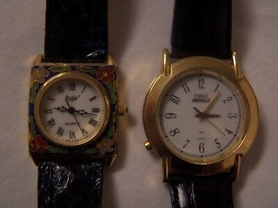 Lot of 2 Ladies Watches Timex Indiglo 1025 & ROJE Leather Bands Non Working