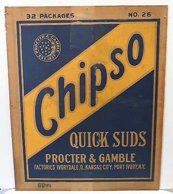 Vtg 1920s Chipso Quick Suds Proctor & Gamble Advertising Sign Laundry Soap 17x14
