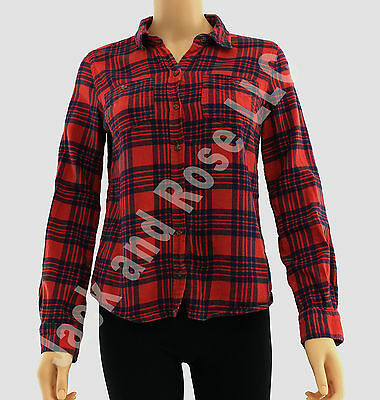 Mossimo Women Red Plaid Long Sleeve Size Small S Shirt Top Button Down JARFF
