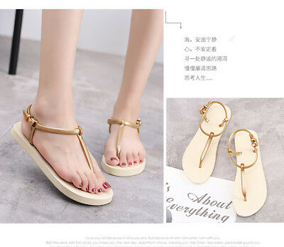New Gold Chic Thongs Sandals Rome Comfortable Shoes for Ladies Size EU 39