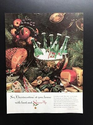Seven Up   1961 Vintage Print Ad   Large Ad 7 Up Soda Christmas 1960s