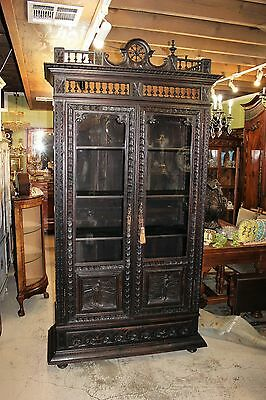 Beautiful French Antique Oak Brittany Oak  2 Glass Door Bookcase.
