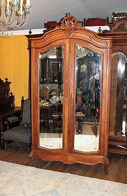 Beautiful French Antique Louis XV Walnut 2 Door Beveled Armoire