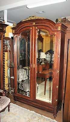 Beautiful French Antique Louis XVI Mahogany 2 Door Beveled Armoire.