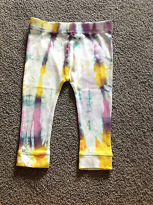 Handmade 6-12 Mths Tie Dye Rainbow Scrunch Cotton Long Leggings Pants