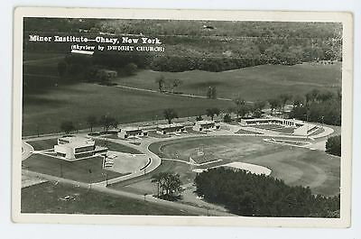 RPPC Miner Institute Aerial View CHAZY NY Vintage New York Real Photo Postcard