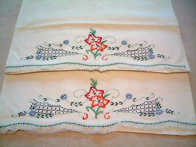 Vintage Pair of White Pillowcases Hand Embroidered Flowers Lace Edge