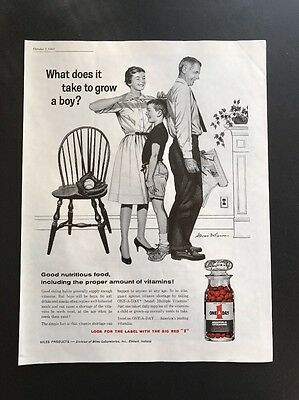 One A Day Multiple Vitamin | 1961 Vintage Print Ad | Family Growth 1960s