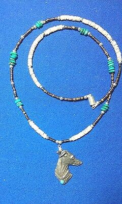 Greyhound IG WHIPPET Pewter Necklace beaded Turquoise Heshi Hound  Dog Jewelry