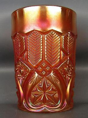 CARNIVAL GLASS - MILLERSBURG FEATHER & HEART Scarce Rosy Marigold Tumbler 2