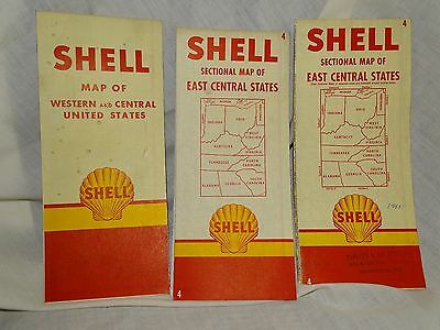 Vintage 1950s SHELL 3 Road Maps Western and Central US & East Central States