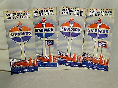 Late 1940s Early 1950s STANDARD OIL (Indiana) Regional Highway Maps LOT of 4