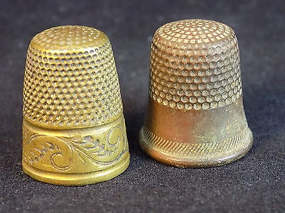 Set of 2 vintage copper and brass thimbles decorative etched metal finger cover