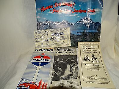 LOT of 5 1940 STANDARD OIL Wyoming 1950s Yellowstone Jackson Hole Map Brochure