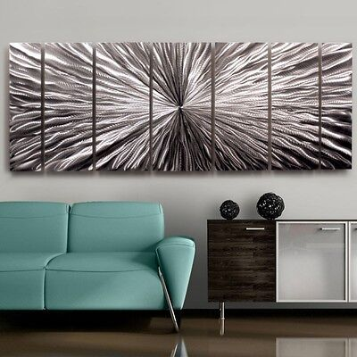 Contemporary Modern Silver Metal Wall Art Decor - Radiant Velocity by Jon Allen