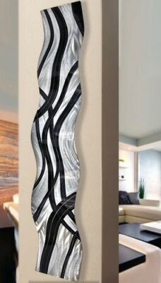 Hand Painted Abstract Metal Wall Sculpture - Crossroads Wave by Artist Jon Allen
