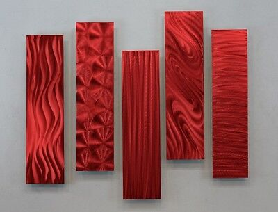 Metal Abstract Modern Painting Wall Art Decor - 5 Easy Pieces Red by Jon Allen