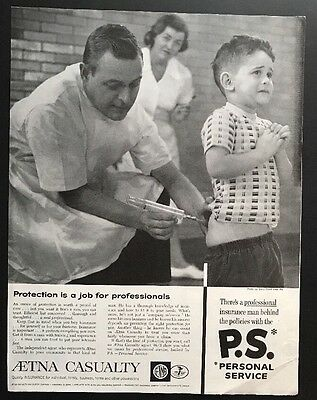 Aetna Casualty | 1961 Vintage Print Ad | Large Ad Doctor Shots  1960s
