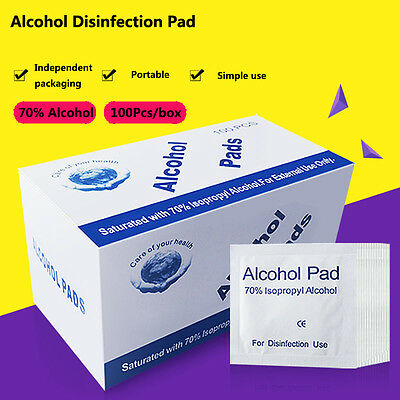 100pcs Outdoor Safety First Aid  Alcohol Wipe Pad Antibacterial Tool Cleanser