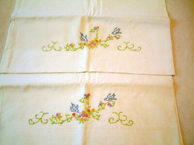 Vintage Pair of White Pillowcases Hand Embroidered Blue Birds & Flowers