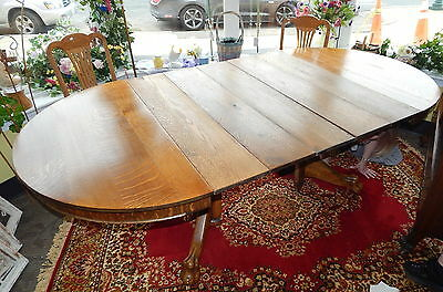 Antique Early American Round Oak Claw Foot Table w 5 Chairs Leafs 45 to 90""