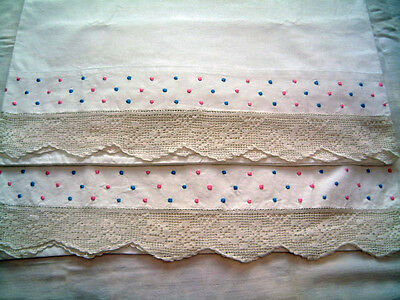 Vintage Pair of White Pillowcases  Embroidered Pink Blue Dots Lace Edging