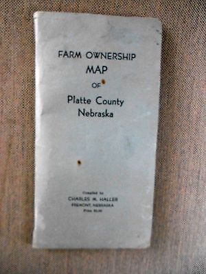 1959 Fold out Plat Map of Platte County Nebraska Produced by Charles M. Haller