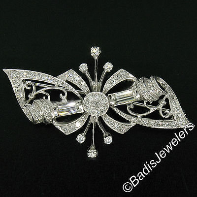 Vintage 14K White Gold 2.18ctw Baguette & Round Diamond Cluster Bow Pin Brooch
