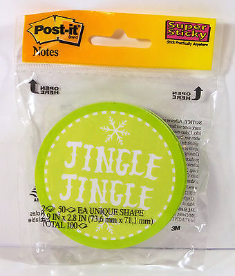 Post-It Notes Green Holiday Circle Jingle Jingle Super Sticky Notes Pack Of 2