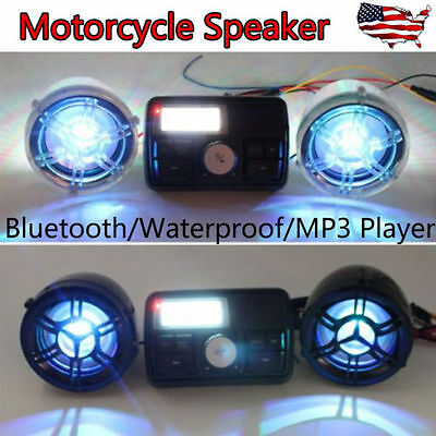 Motorcycle Bluetooth MP3 Audio FM Radio Sound System Stereo Speakers Waterproof