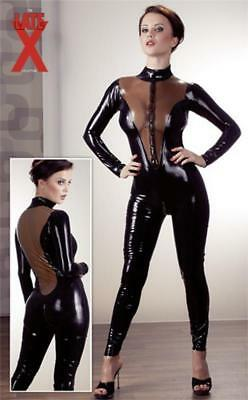 Catsuit Latex-Catsuit Dessous Latex-Anzug Domina-Overall in Schwarz Gr.S