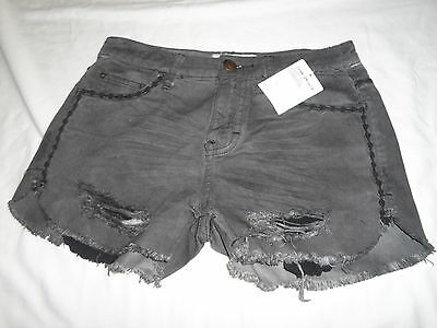 NWT Free People shorts distressed delft wash frayed hem women's size 25