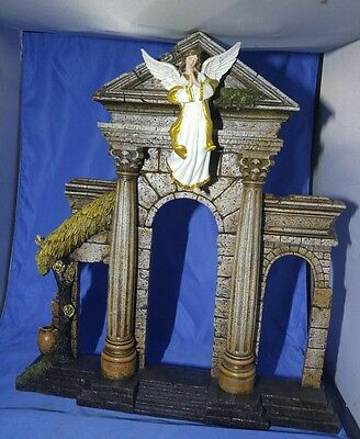 Vintage Resin Brown Hair Angel on Arch Sculpture Shelf  ~ Religious - Large! 18""