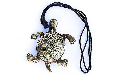 Nepalese Brass Turtle Flute Ocarina, Whistle with handmade felt case