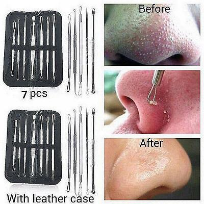 7pcs Blackhead Whitehead Pimple Acne Blemish Extractor Remover Tool Set