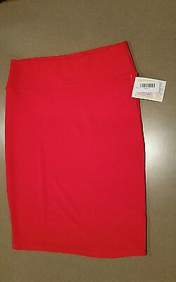 NWT LULAROE SOLID Red Textured CASSIE Pencil Skirt Size Large L