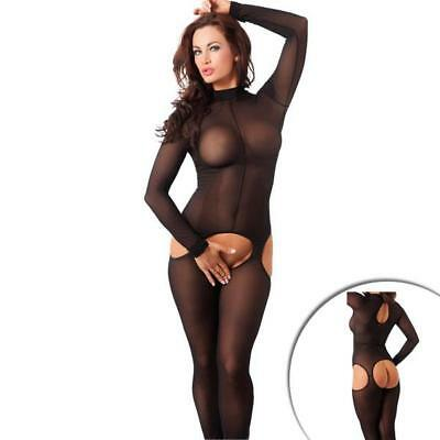 Catsuit Damen-Overall Body-Stocking Dessous offen in schwarz Gr.S-L