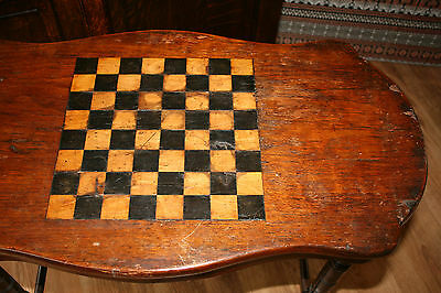 Antique Edwardian Chess Games  Inlaid Occasional Table on Castors