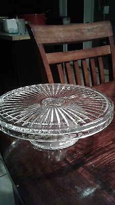 "vintage crystal cake plate leaf design pedestal 12"" wide x 4"" tall, antique"