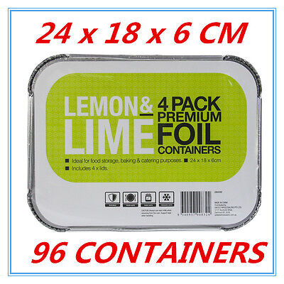 96 x Premium Foil Tray Disposable Takeaway BBQ Foil Trays food Container W LID D