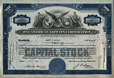 1945 Pan American Airways Stock Certificate Airline AM
