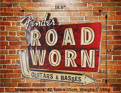 Fender Music Instruments Guitars & Basses Embossed Metal Sign Wall Decor Advert