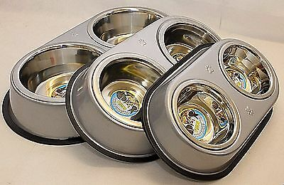 Double Dog Pet Bowls Dish Stainless Steel Feeder Cat Food Water Metal stand