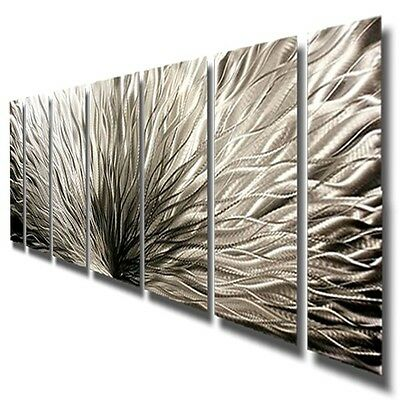 Modern Abstract Metal Wall Sculpture - Silver Plumage by USA Artist Jon Allen