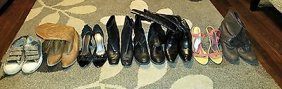 Lot of 8 pairs of preowned women's shoes size 9 10 and 11 boots vans heels