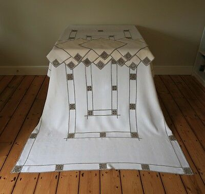 Large Vintage Hand Embroidered Needle Work Lefkara Tablecloth With 10 Napkins