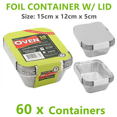 60 X Small Foil food Container Tray & Lid Roasting BBQ Takeaway Oven Trays FD